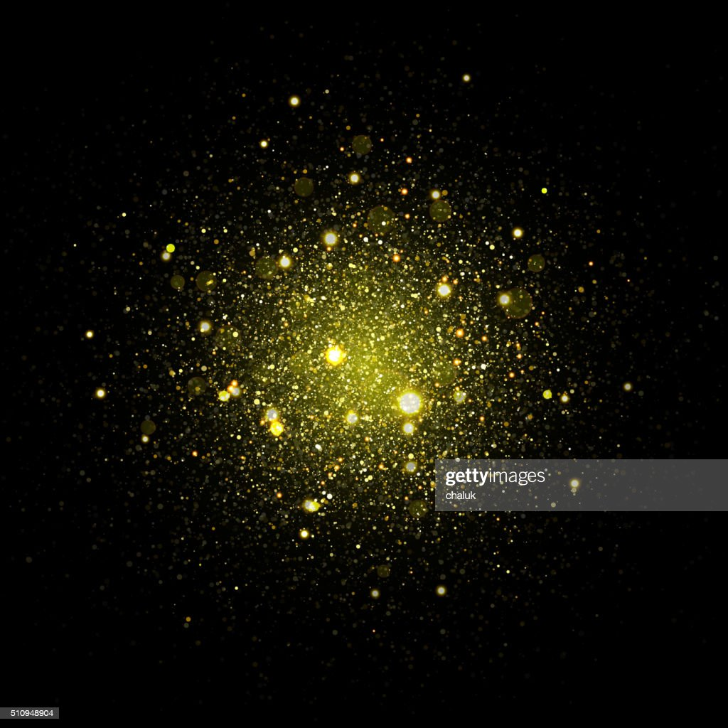 Vector gold star sparkles in space. Glittering shining galaxy particles