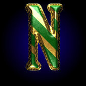 vector golden and green letter