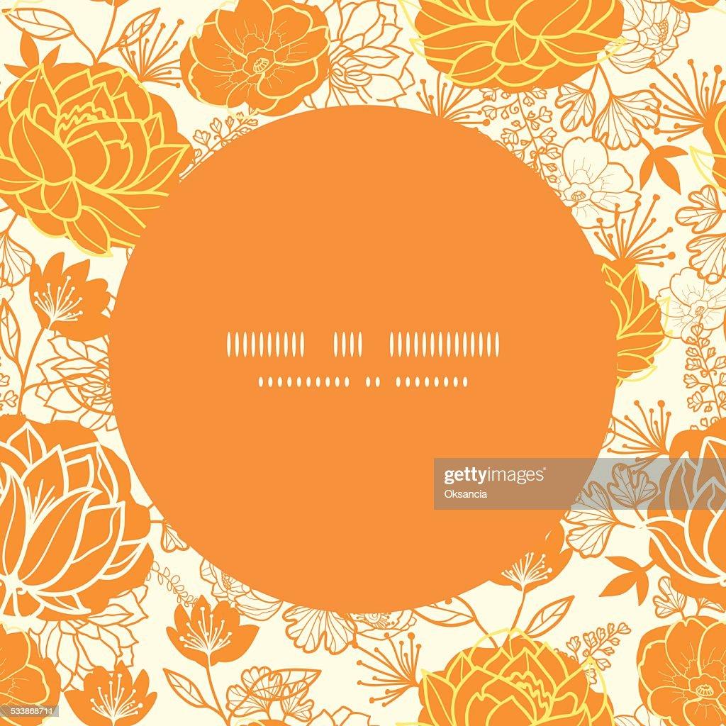Vector golden art flowers frame seamless pattern background