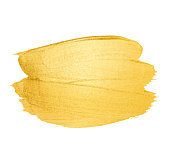 Vector golden brush stroke. Watercolor texture paint stain isolated on