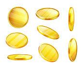 Vector golden coin in different positions, money