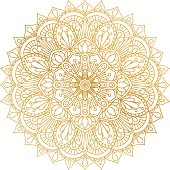 Vector golden contour Mandala ornament. Oriental round pattern.