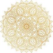 Vector golden contour Mandala ornament. Oriental round pattern.