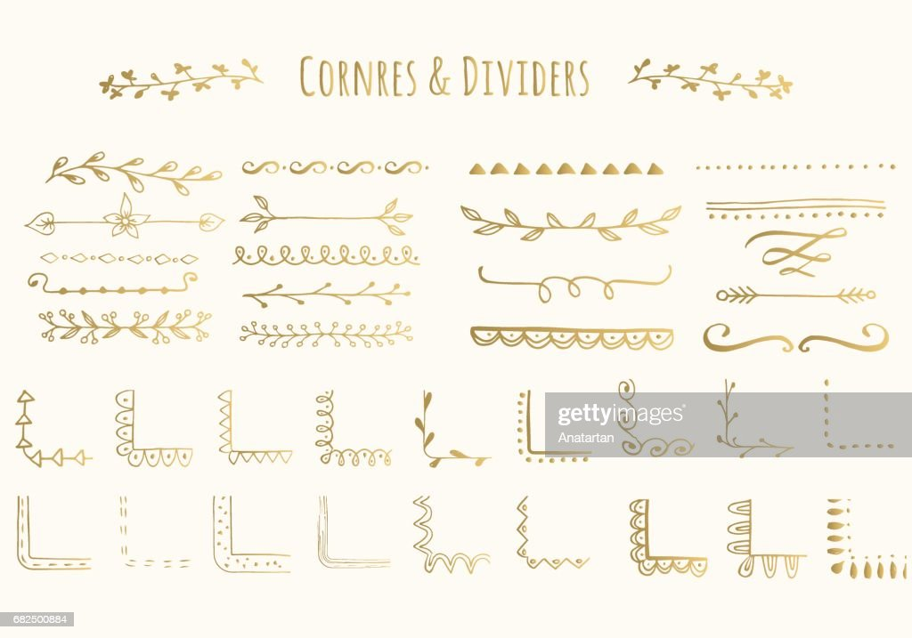 Vector golden corners and dividers. Isolated.