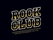 Vector Golden emblem with text Rock Club. Glossy set of Alphabet Letters, Numbers and Symbols