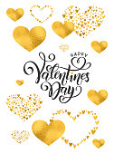 Vector golden foil handwritten lettering Happy Valentines Day. Calligraphy drawn text Valentines Day hearts gold pattern