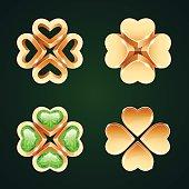 Vector Golden Four-leaf Clovers Set1