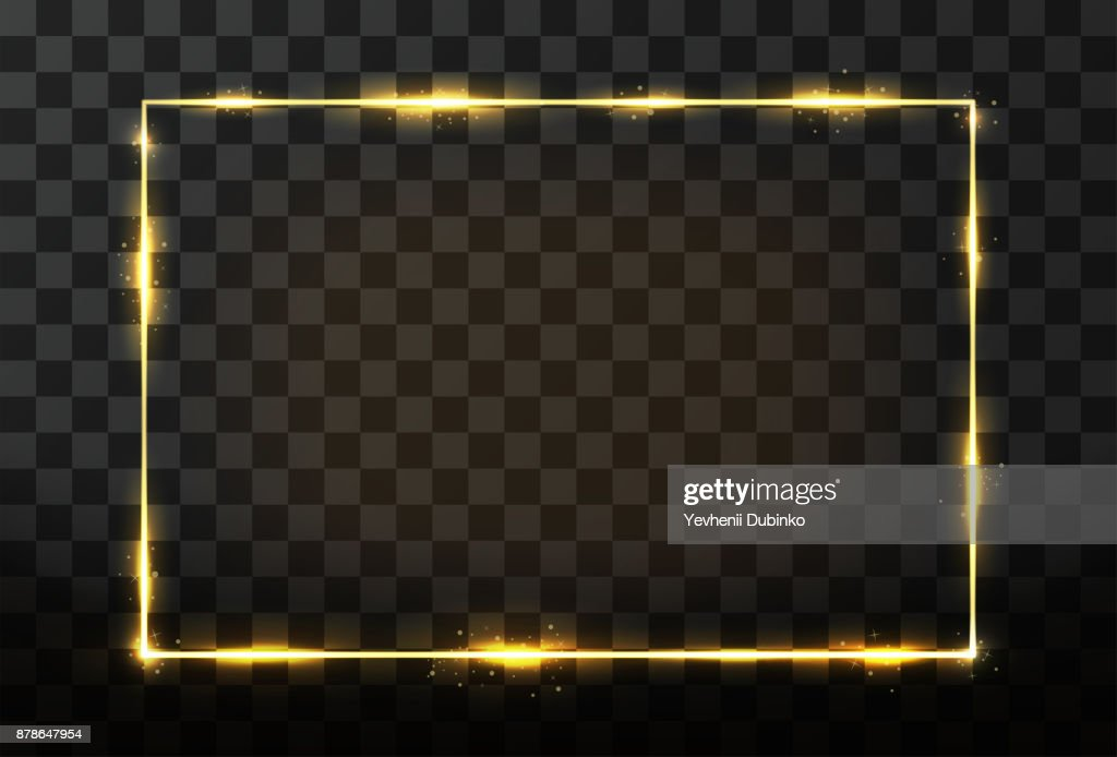 Vector golden frame with glow effect. Neon rectangle frame and glitter effect