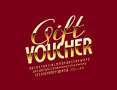 Vector Golden Gift Voucher for Sales, Promotion, Marketing with Alphabet