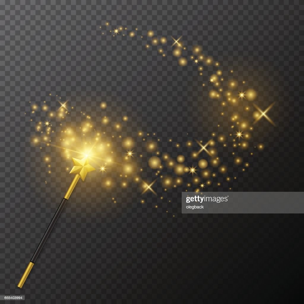 Vector golden magic wand with glow light on transparent background.