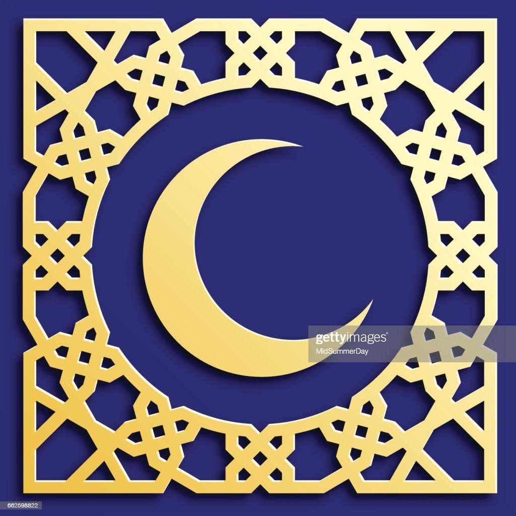 Vector Golden Muslim Mosaic With Crescent Persian Motif Mosque