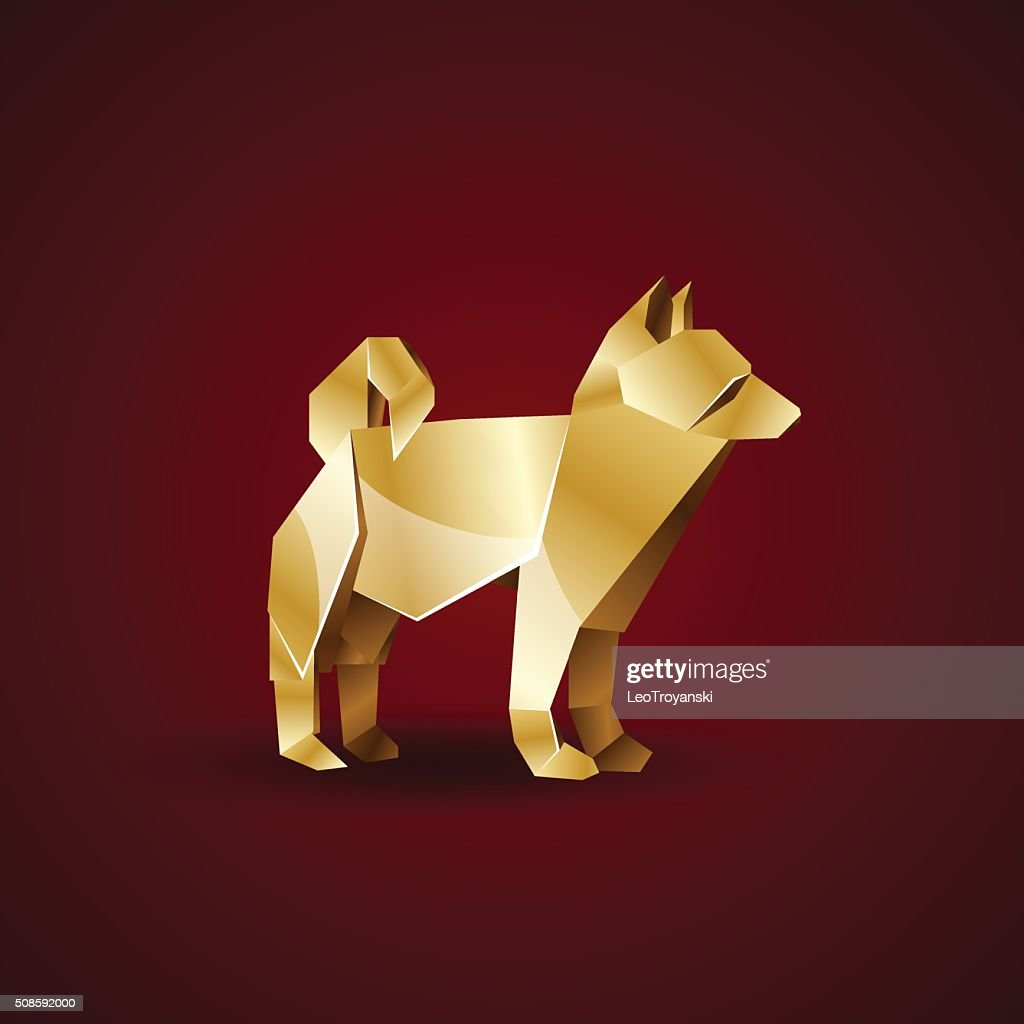 vector golden origami dog. Laika