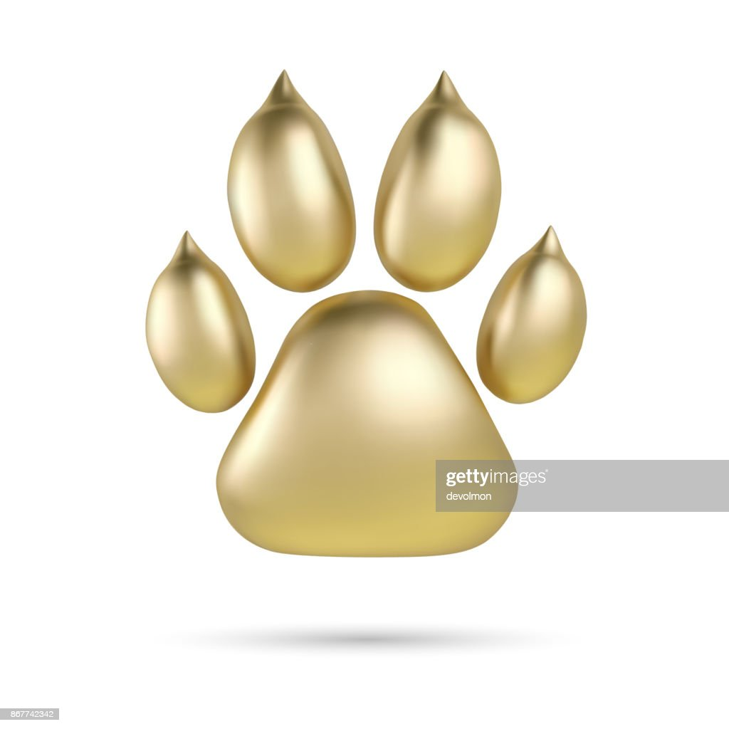 Vector Golden paw print of animal icontype or icon isolated on white background. Dog paw footprint icon. 2018 Year of Dog