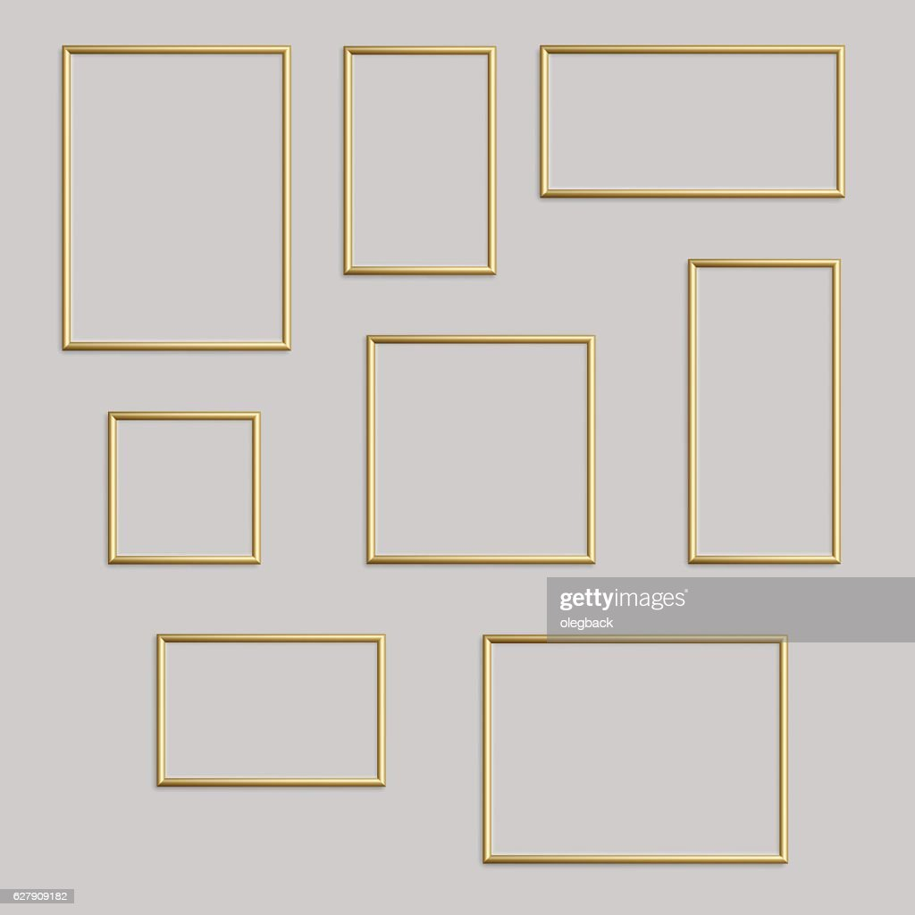 Vector golden photo or picture frame in different proportions.
