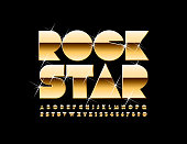 Vector golden poster Rock Star. Elite Alphabet Letters, Numbers and Symbols with glitter