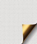 Vector golden sheet curl corner on transparent background.