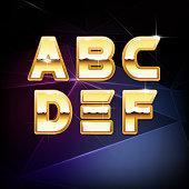 Vector Golden Shiny Alphabet form A to F
