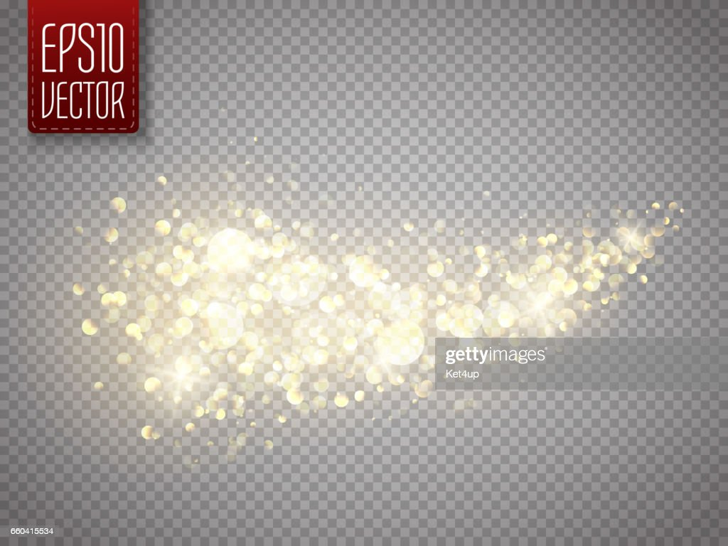 Vector golden star dust trail. Shine particles isolated. Dust cloud