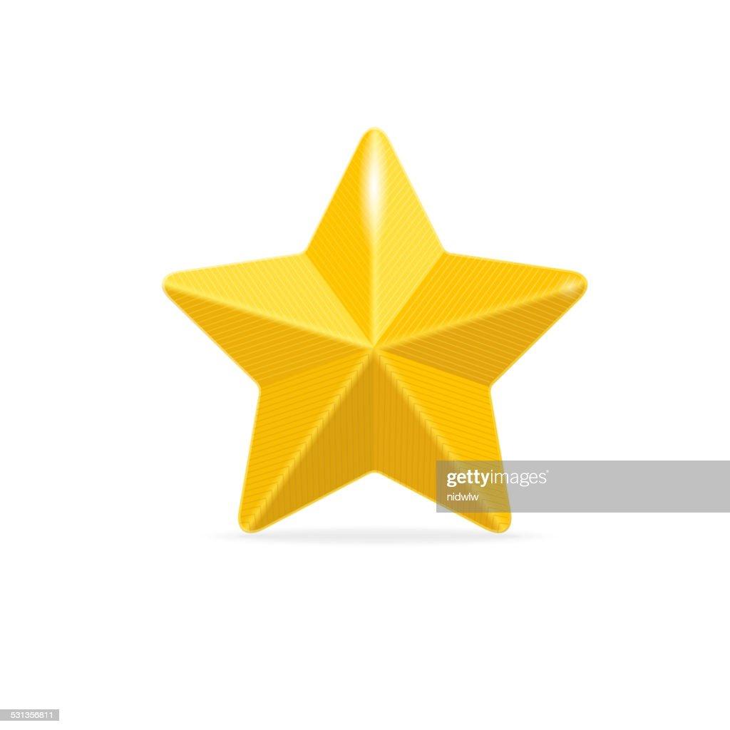 vector Golden star isolated on white