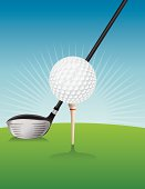 Vector Golf Ball and Driver Illustration