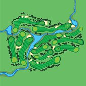 Vector golf course aerial view