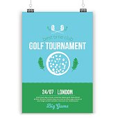Vector Golf poster design with flat elements. Template for sport flyer, competition