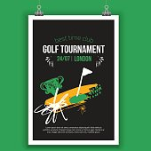 Vector Golf poster design with hand drawn elements. Template for sport flyer, competition