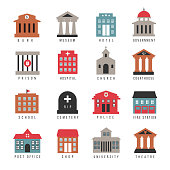 Vector government building colored icons