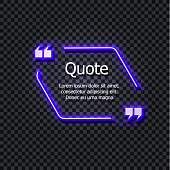 Vector Gowing Quotation Frame Template Isolated on Dark Transparent Background, Neon.