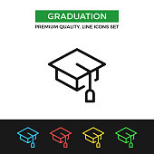 Vector graduation icon. Education, academic degree. Premium quality graphic design. Modern linear stroke signs, pictograms, outline symbols collection, simple thin line icons set for websites, web design, mobile app