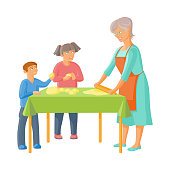 vector grandmother and children rolling out dough