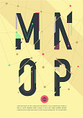 Vector graphic alphabet in a set - cool background