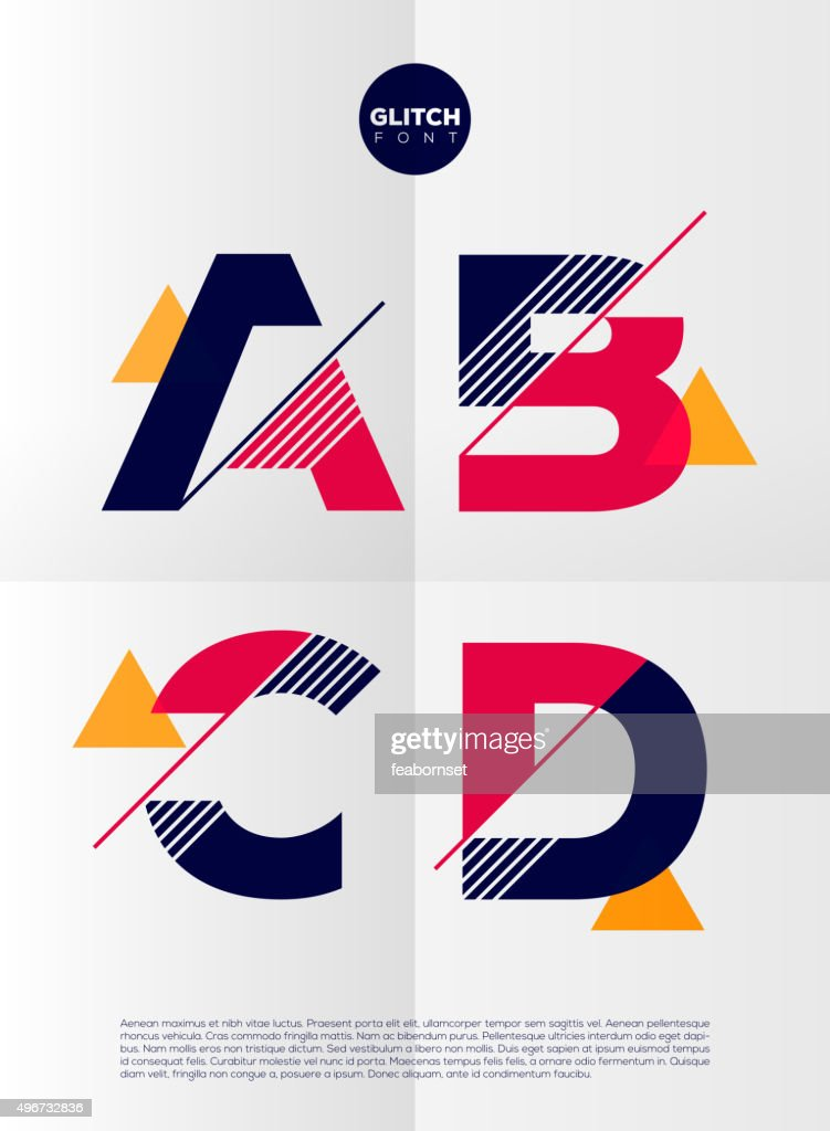 Vector graphic alphabet in a set