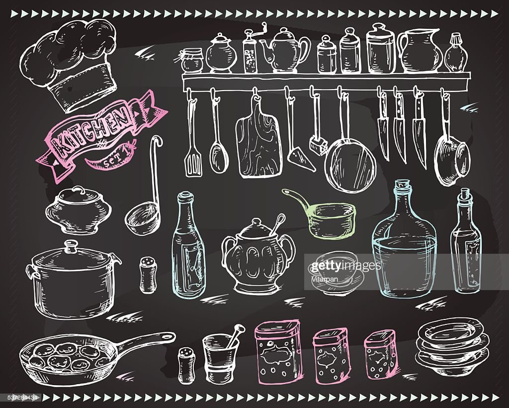 Vector graphic, artistic, stylized set for design Kitchen