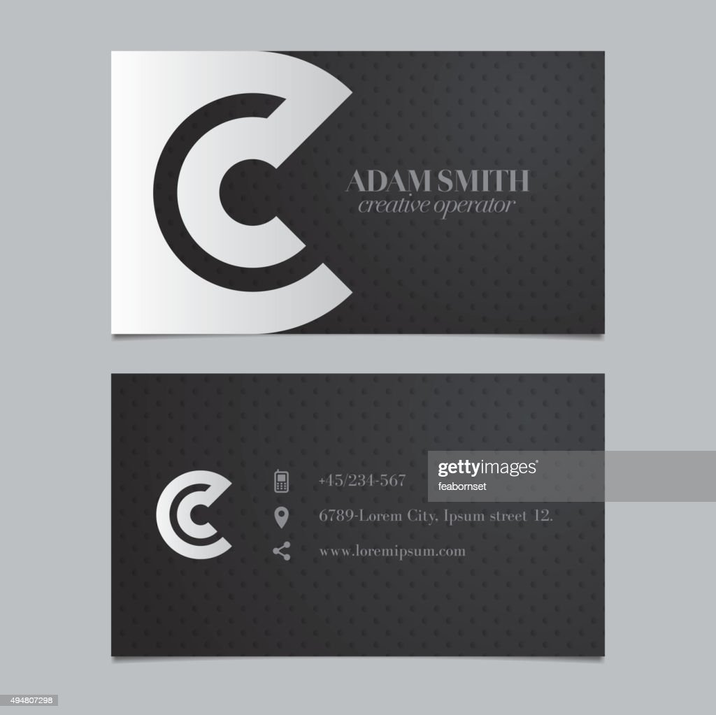 Vector graphic business card with alphabet symbol / letter C