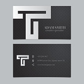 Vector graphic business card with alphabet symbol / letter T