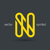 Vector graphic creative line alphabet symbol / Letter N