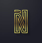 Vector graphic creative line gold alphabet / letter N