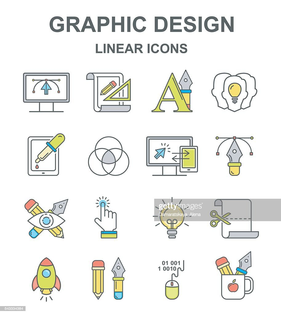 Vector graphic design colored linear icons set.