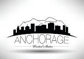 Vector Graphic Design of Anchorage City Skyline
