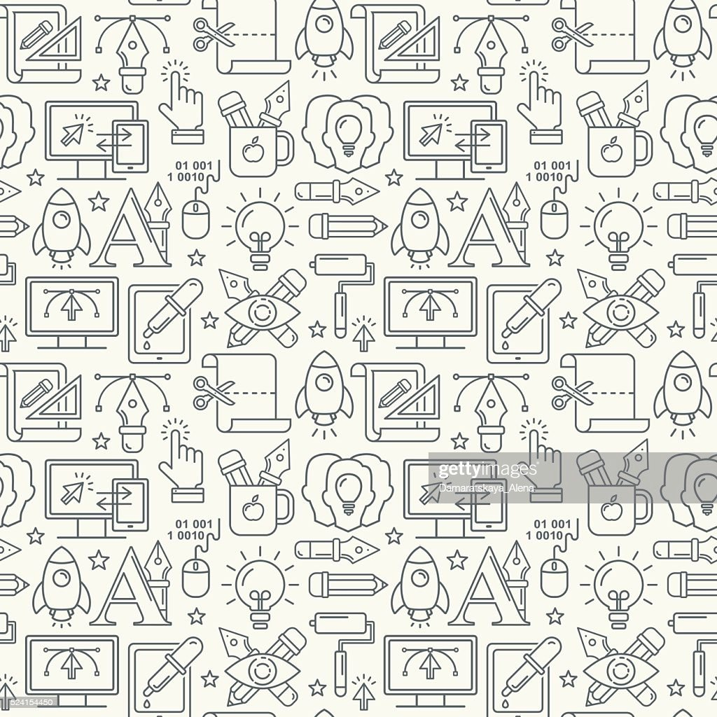 Vector graphic design seamless pattern with grey linear icons