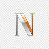 Vector graphic elegant silver and gold impossible font, symbol, alphabet, Letter N