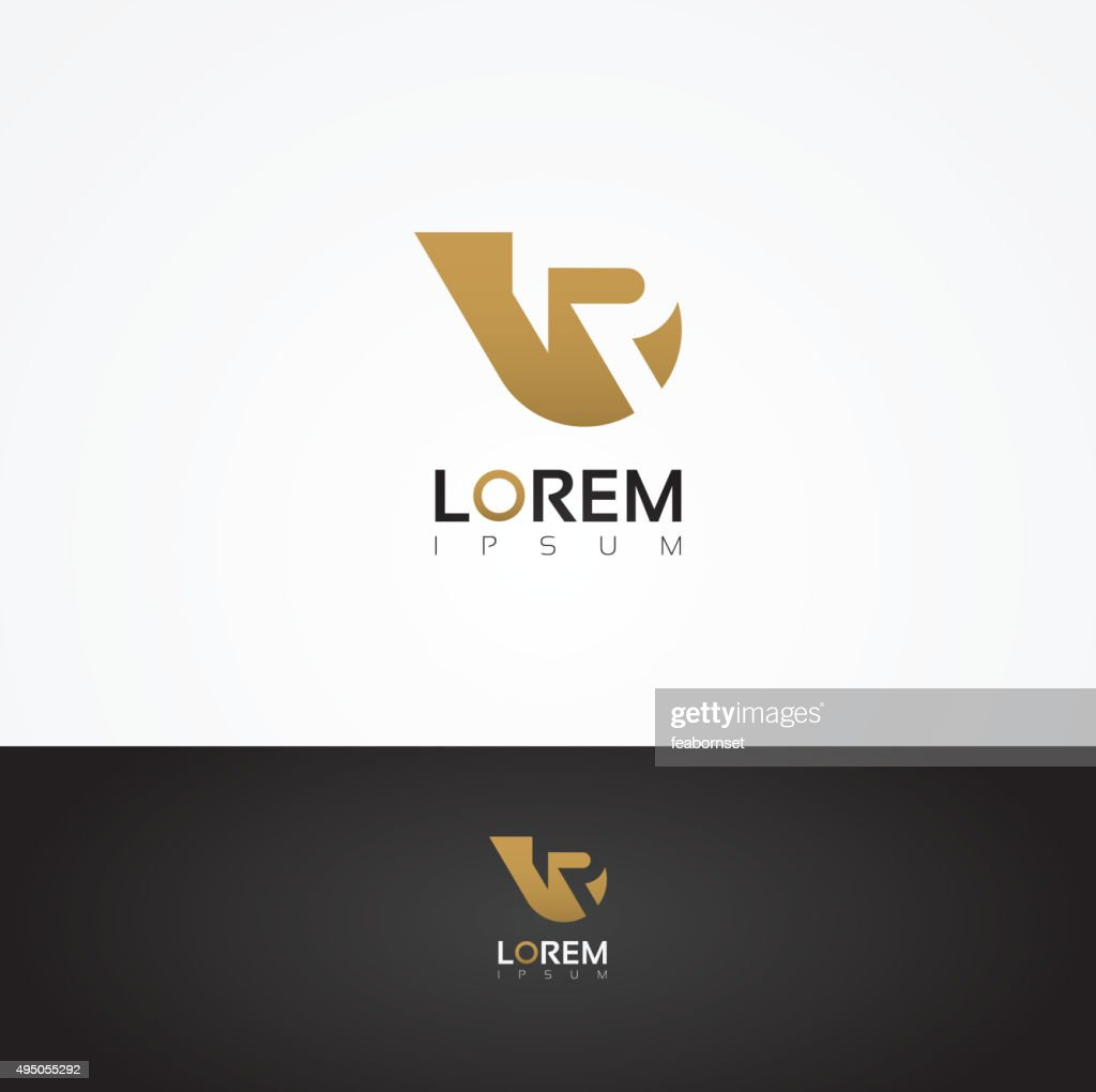 Vector graphic golden R letter symbol for your company