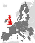 Vector graphic illustration map of Europe with European Union member states marking United Kingdom in red