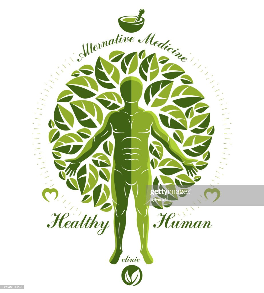 Vector graphic illustration of strong male composed with green tree leaves and mortar and pestle. Raw food diet concept, no gm theme.