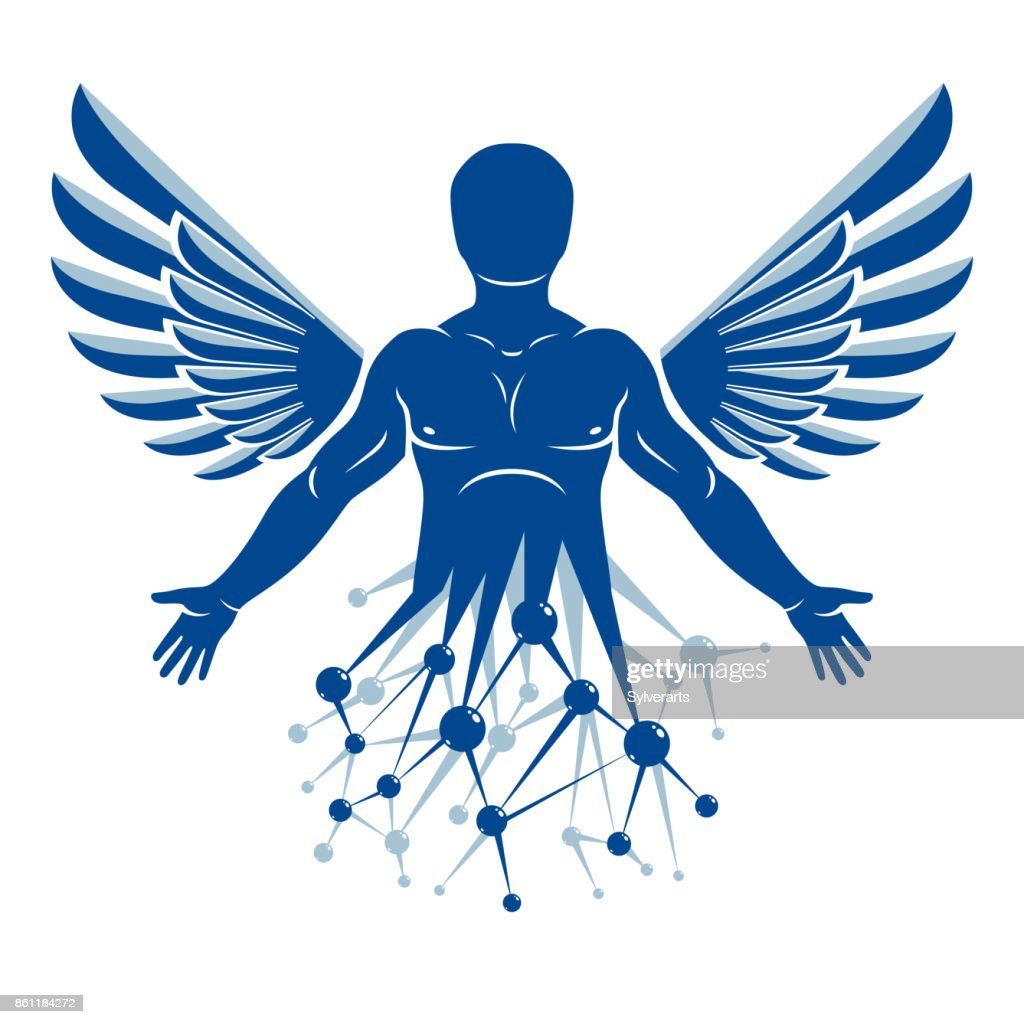 Vector graphic illustration of strong male created with wireframe connections and bird wings. Biomedical engineering concept.