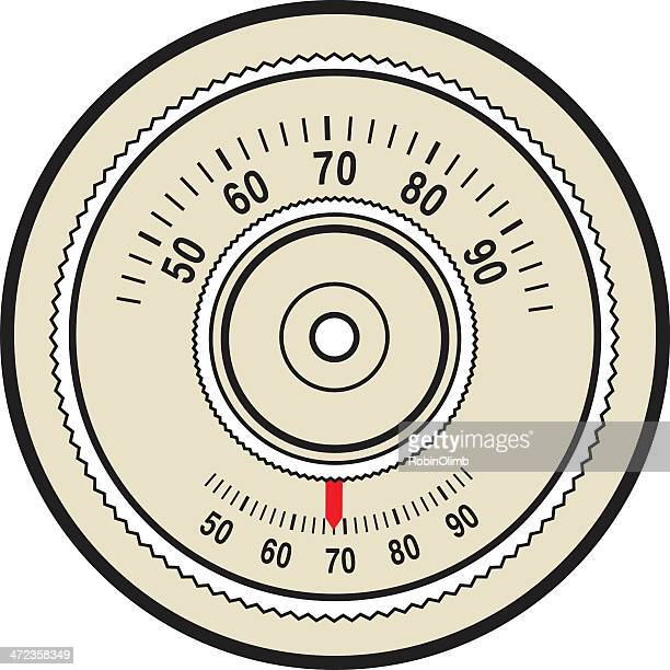 Vector graphic of a retro thermostat control dial