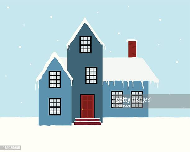 vector graphic of a winter house in snow - blizzard stock illustrations, clip art, cartoons, & icons