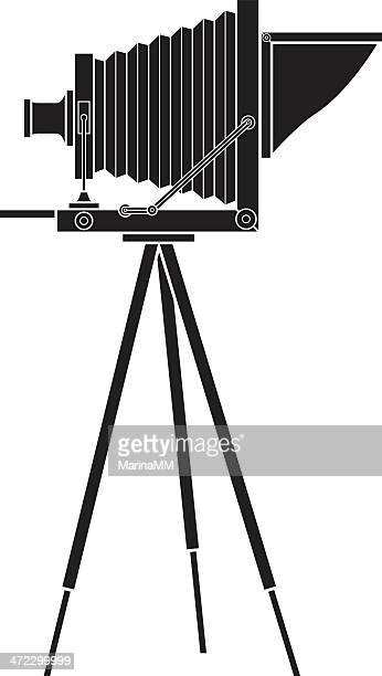vector graphic of an old photo camera on a tripod - camera tripod stock illustrations, clip art, cartoons, & icons