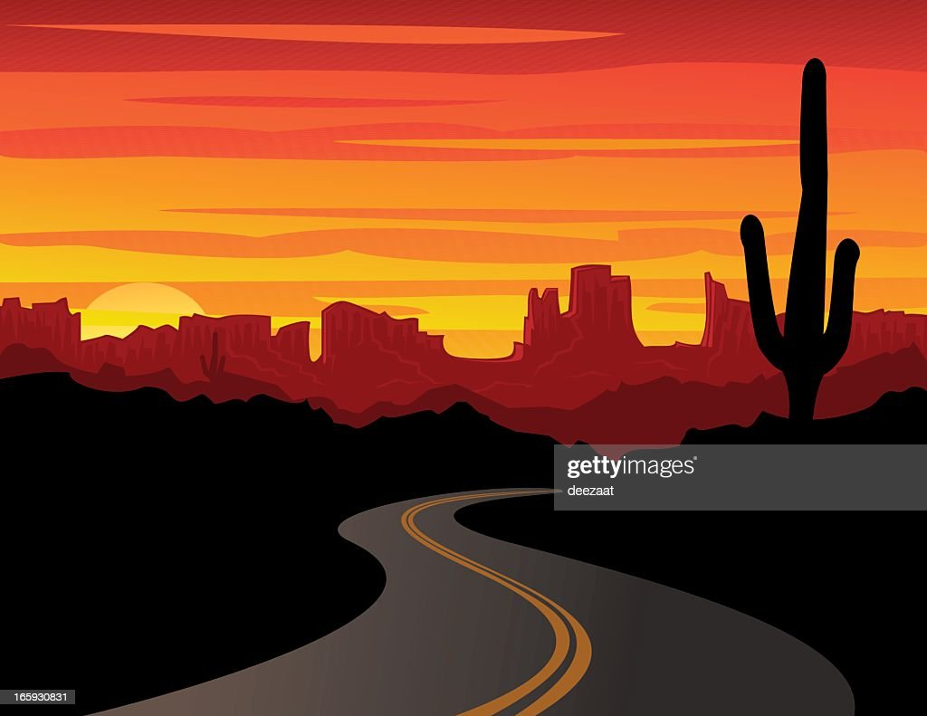 Vector graphic of bold desert sunset with silhouette cactus